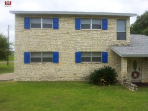 Blue Raised Panel Shutters - Fredericksburg, Tx
